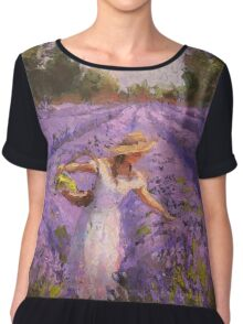 Woman Picking Lavender In A Field In A White Dress - Lady Lavender - Plein Air Painting Chiffon Top