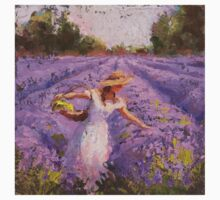 Woman Picking Lavender In A Field In A White Dress - Lady Lavender - Plein Air Painting Baby Tee