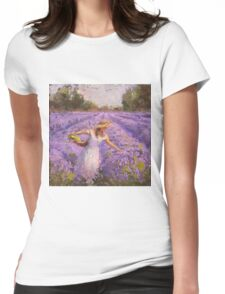 Woman Picking Lavender In A Field In A White Dress - Lady Lavender - Plein Air Painting Womens Fitted T-Shirt