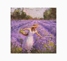 Woman Picking Lavender In A Field In A White Dress - Lady Lavender - Plein Air Painting Unisex T-Shirt