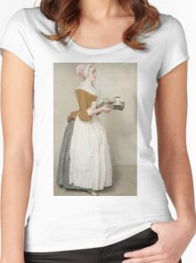 Jean-Etienne Liotard - The Chocolate Girlaround 1744. Woman portrait: sensual woman, girly art, female style, pretty women, femine, beautiful dress, cute, creativity, love, sexy lady, erotic pose Women's Fitted Scoop T-Shirt