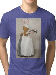 Jean-Etienne Liotard - The Chocolate Girlaround 1744. Woman portrait: sensual woman, girly art, female style, pretty women, femine, beautiful dress, cute, creativity, love, sexy lady, erotic pose Tri-blend T-Shirt