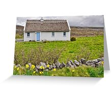 rural irish cottage in the burren countryside, county clare, ireland Greeting Card