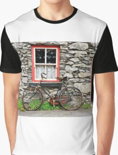 rural old stone cottage house bicycle countryside ireland Graphic T-Shirt