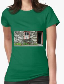 rural old stone cottage house bicycle countryside ireland Womens Fitted T-Shirt