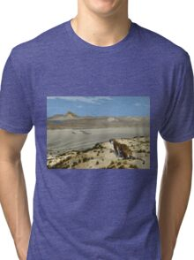 Jean-Leon Gerome - Tiger On The Watch. Mountains landscape: mountains, rocks, rocky nature, sky and clouds, Tiger, peak, forest, rustic, hill, travel, hillside Tri-blend T-Shirt