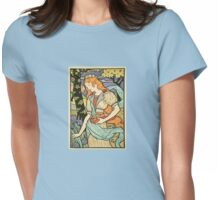 Woman Picking Flowers Womens Fitted T-Shirt
