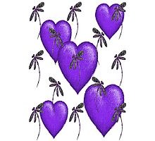 Love Hearts and Dragonflies Purple Photographic Print