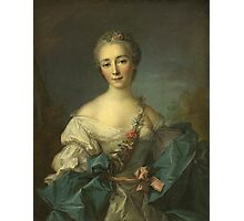 Jean-Marc Nattier - Portrait Of A Young Woman. Woman portrait: sensual woman, girly art, female style, pretty women, femine, beautiful dress, cute, creativity, love, sexy lady, erotic pose Photographic Print