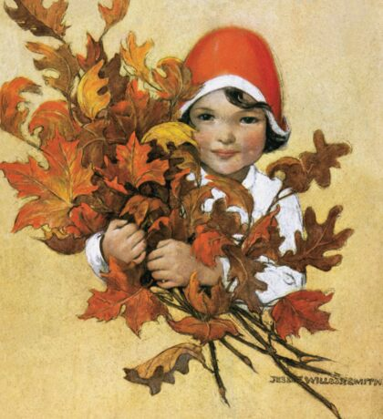 Jessie Willcox Smith - Girl With Fall Leaves. Child portrait: cute baby, kid, children, pretty angel, child, kids, lovely family, boys and girls, boy and girl, mom mum mammy mam, childhood Sticker
