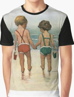 Jessie Willcox Smith - Hand In Hand On The Beach. Child portrait: cute baby, kid, children, pretty angel, child, kids, lovely family, boys and girls, boy and girl, mom mum mammy mam, childhood Graphic T-Shirt