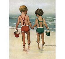 Jessie Willcox Smith - Hand In Hand On The Beach. Child portrait: cute baby, kid, children, pretty angel, child, kids, lovely family, boys and girls, boy and girl, mom mum mammy mam, childhood Photographic Print