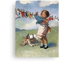 Jessie Willcox Smith - Hanging Doll Clothes On A Windy Day. Child portrait: cute baby, kid, children, pretty angel, child, kids, lovely family, boys and girls, boy and girl, mom mum mammy mam, Canvas Print