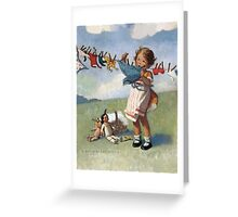 Jessie Willcox Smith - Hanging Doll Clothes On A Windy Day. Child portrait: cute baby, kid, children, pretty angel, child, kids, lovely family, boys and girls, boy and girl, mom mum mammy mam, Greeting Card