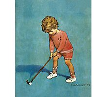 Jessie Willcox Smith - I Can Play Golf!. Child portrait: cute baby, kid, children, pretty angel, child, kids, lovely family, boys and girls, boy and girl, mom mum mammy mam, childhood Photographic Print