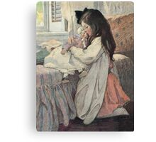 Jessie Willcox Smith - I Love My Doll. Child portrait: cute baby, kid, children, pretty angel, child, kids, lovely family, boys and girls, boy and girl, mom mum mammy mam, childhood Canvas Print