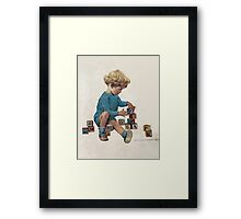 Jessie Willcox Smith - Little Boy Playing With Blocks. Child portrait: cute baby, kid, children, pretty angel, child, kids, lovely family, boys and girls, boy and girl, mom mum mammy mam, childhood Framed Print
