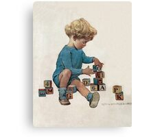 Jessie Willcox Smith - Little Boy Playing With Blocks. Child portrait: cute baby, kid, children, pretty angel, child, kids, lovely family, boys and girls, boy and girl, mom mum mammy mam, childhood Canvas Print