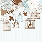 Modern Floral Birdcage Blue by SpiceTree