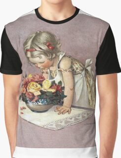 Jessie Willcox Smith - Little Girl Admiring A Bowl Of Roses. Child portrait: cute baby, kid, children, pretty angel, child, kids, lovely family, boys and girls, boy and girl, mom mum mam, childhood Graphic T-Shirt