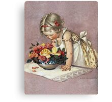 Jessie Willcox Smith - Little Girl Admiring A Bowl Of Roses. Child portrait: cute baby, kid, children, pretty angel, child, kids, lovely family, boys and girls, boy and girl, mom mum mam, childhood Canvas Print