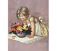 Jessie Willcox Smith - Little Girl Admiring A Bowl Of Roses. Child portrait: cute baby, kid, children, pretty angel, child, kids, lovely family, boys and girls, boy and girl, mom mum mam, childhood Photographic Print