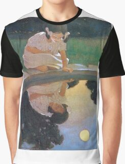 Jessie Willcox Smith - Looking At The Moon S Reflection. Child portrait: cute baby, kid, children, pretty angel, child, kids, lovely family, boys and girls, boy and girl, mom mum mammy mam, childhood Graphic T-Shirt