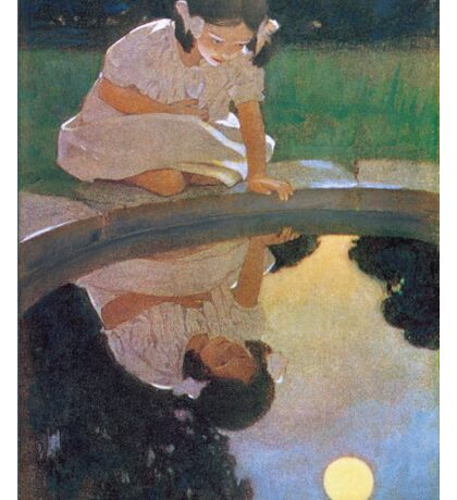 Jessie Willcox Smith - Looking At The Moon S Reflection. Child portrait: cute baby, kid, children, pretty angel, child, kids, lovely family, boys and girls, boy and girl, mom mum mammy mam, childhood Sticker