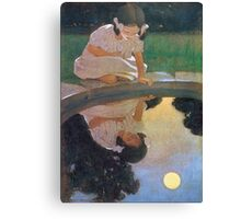 Jessie Willcox Smith - Looking At The Moon S Reflection. Child portrait: cute baby, kid, children, pretty angel, child, kids, lovely family, boys and girls, boy and girl, mom mum mammy mam, childhood Canvas Print