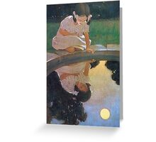Jessie Willcox Smith - Looking At The Moon S Reflection. Child portrait: cute baby, kid, children, pretty angel, child, kids, lovely family, boys and girls, boy and girl, mom mum mammy mam, childhood Greeting Card