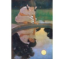 Jessie Willcox Smith - Looking At The Moon S Reflection. Child portrait: cute baby, kid, children, pretty angel, child, kids, lovely family, boys and girls, boy and girl, mom mum mammy mam, childhood Photographic Print