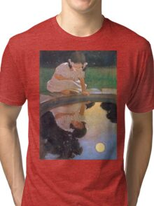 Jessie Willcox Smith - Looking At The Moon S Reflection. Child portrait: cute baby, kid, children, pretty angel, child, kids, lovely family, boys and girls, boy and girl, mom mum mammy mam, childhood Tri-blend T-Shirt