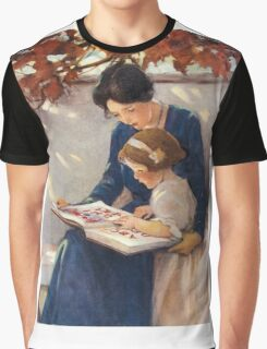 Jessie Willcox Smith - Mother Helps With The Abc Mother with kid portrait: cute girl, mother and daughter, female, pretty angel, child, beautiful dress, lovely family, mothers day, memory, mom, baby Graphic T-Shirt