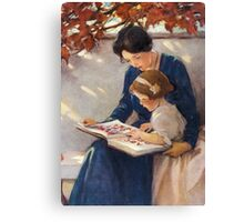 Jessie Willcox Smith - Mother Helps With The Abc Mother with kid portrait: cute girl, mother and daughter, female, pretty angel, child, beautiful dress, lovely family, mothers day, memory, mom, baby Canvas Print