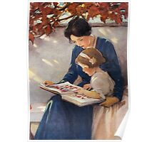 Jessie Willcox Smith - Mother Helps With The Abc Mother with kid portrait: cute girl, mother and daughter, female, pretty angel, child, beautiful dress, lovely family, mothers day, memory, mom, baby Poster