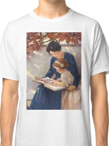 Jessie Willcox Smith - Mother Helps With The Abc Mother with kid portrait: cute girl, mother and daughter, female, pretty angel, child, beautiful dress, lovely family, mothers day, memory, mom, baby Classic T-Shirt