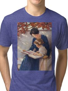 Jessie Willcox Smith - Mother Helps With The Abc Mother with kid portrait: cute girl, mother and daughter, female, pretty angel, child, beautiful dress, lovely family, mothers day, memory, mom, baby Tri-blend T-Shirt