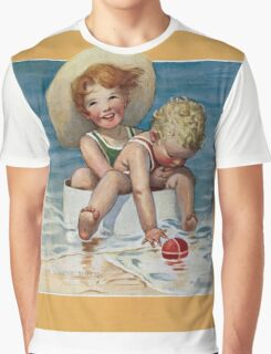 Jessie Willcox Smith - Two Children Playing In The Ocean. Child portrait: cute baby, kid, children, pretty angel, child, kids, lovely family, boys and girls, boy and girl, mom mum mammy mam, childhood Graphic T-Shirt