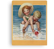 Jessie Willcox Smith - Two Children Playing In The Ocean. Child portrait: cute baby, kid, children, pretty angel, child, kids, lovely family, boys and girls, boy and girl, mom mum mammy mam, childhood Canvas Print