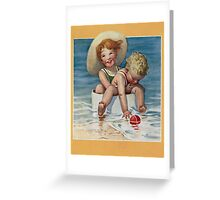 Jessie Willcox Smith - Two Children Playing In The Ocean. Child portrait: cute baby, kid, children, pretty angel, child, kids, lovely family, boys and girls, boy and girl, mom mum mammy mam, childhood Greeting Card