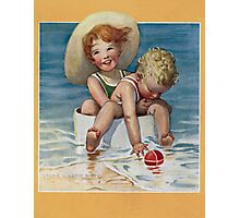 Jessie Willcox Smith - Two Children Playing In The Ocean. Child portrait: cute baby, kid, children, pretty angel, child, kids, lovely family, boys and girls, boy and girl, mom mum mammy mam, childhood Photographic Print