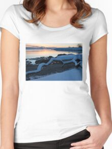 Icy, Snowy Winter Sunrise on the Lake Women's Fitted Scoop T-Shirt