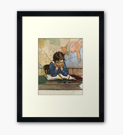 Jessie Willcox Smith - Young Boy Day Dreaming At A School Desk. Child portrait: cute baby, kid, children, pretty angel, child, kids, lovely family, boys and girls, boy and girl, mom mum mam, childhood Framed Print