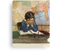 Jessie Willcox Smith - Young Boy Day Dreaming At A School Desk. Child portrait: cute baby, kid, children, pretty angel, child, kids, lovely family, boys and girls, boy and girl, mom mum mam, childhood Canvas Print
