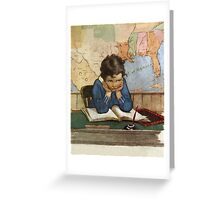 Jessie Willcox Smith - Young Boy Day Dreaming At A School Desk. Child portrait: cute baby, kid, children, pretty angel, child, kids, lovely family, boys and girls, boy and girl, mom mum mam, childhood Greeting Card