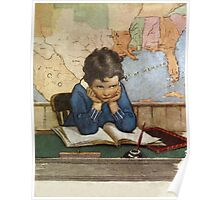 Jessie Willcox Smith - Young Boy Day Dreaming At A School Desk. Child portrait: cute baby, kid, children, pretty angel, child, kids, lovely family, boys and girls, boy and girl, mom mum mam, childhood Poster