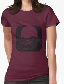 full moon motorcycle Womens Fitted T-Shirt