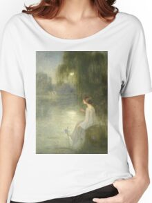 Joan Brull Vinyoles - Somni. Lake landscape: trees, river, land, forest, coast seaside, waves and beach, marine naval navy, lagoon reflection, sun and clouds, nautical panorama, lake Women's Relaxed Fit T-Shirt