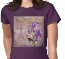 Ville de Paris II vintage style French floral garden art Womens Fitted T-Shirt