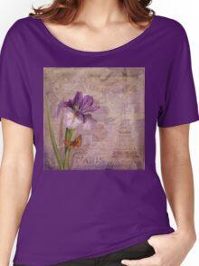 Ville de Paris French floral garden art Women's Relaxed Fit T-Shirt